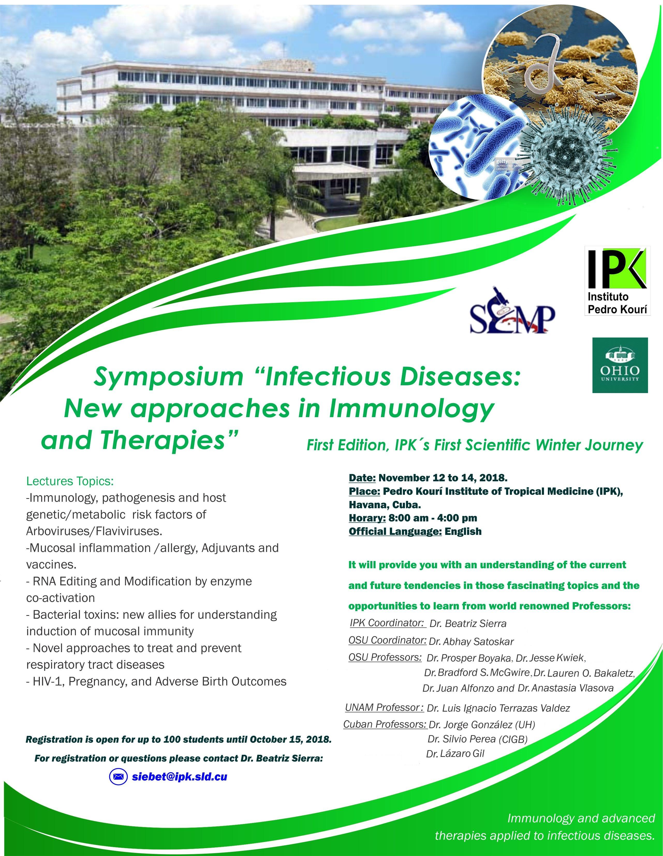 """Simposio """"Enfermedades Infecciosas: Nuevos enfoques en Inmunología y Terapias"""""""